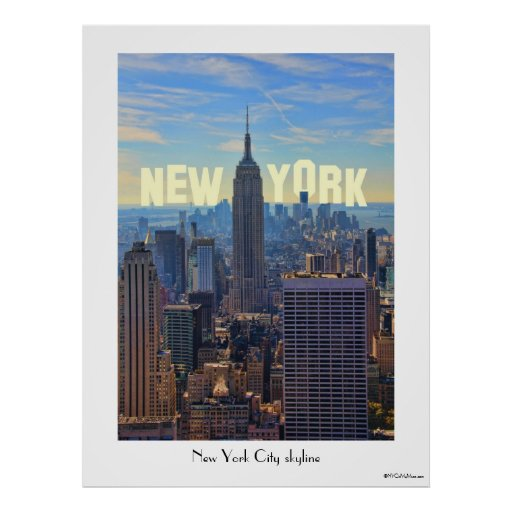 NYC Skyline Empire State Building, World Trade 2C Posters