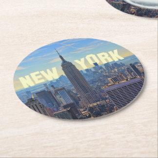 NYC Skyline Empire State Building, World Trade 2C Round Paper Coaster