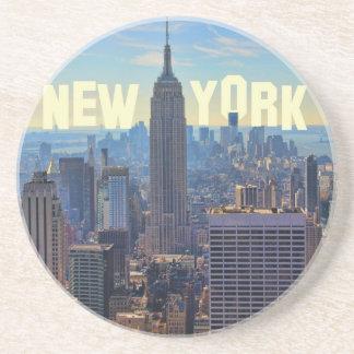 NYC Skyline Empire State Building, World Trade 2C Sandstone Coaster