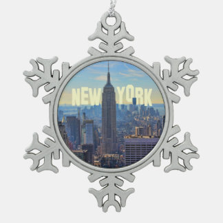NYC Skyline Empire State Building, World Trade 2C Snowflake Pewter Christmas Ornament