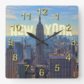 NYC Skyline Empire State Building, World Trade 2C Square Wall Clock