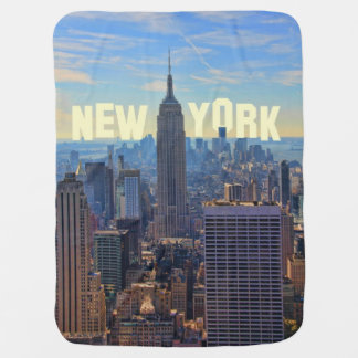 NYC Skyline Empire State Building, World Trade 2C Swaddle Blanket