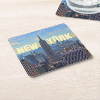 NYC Skyline Empire State Building, World Trade 2C Square Paper Coaster