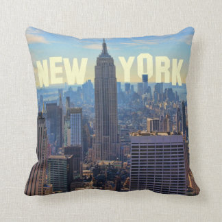 NYC Skyline Empire State Building, World Trade 2C Throw Pillow