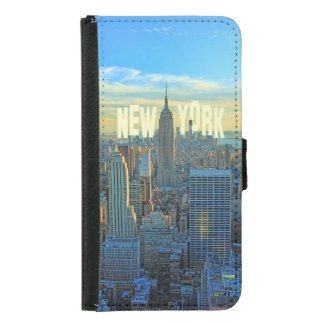 NYC Skyline Empire State Building, World Trade 2C Wallet Phone Case For Samsung Galaxy S5