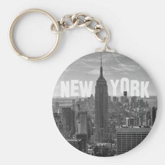 NYC Skyline Empire State Building World Trade 2CBW Basic Round Button Keychain