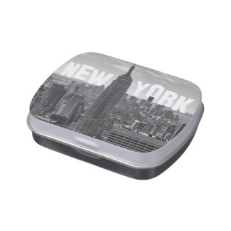 NYC Skyline Empire State Building World Trade 2CBW Jelly Belly Candy Tin