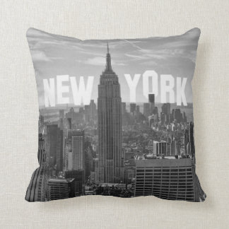 NYC Skyline Empire State Building World Trade 2CBW Throw Pillow
