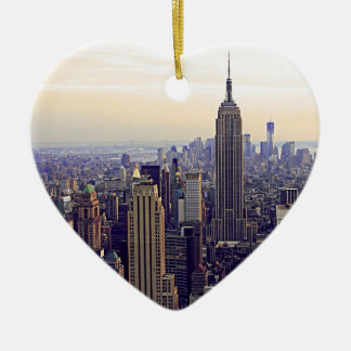NYC skyline Empire State Building, WTC 4 Ceramic Ornament