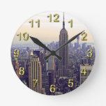 NYC skyline Empire State Building, WTC 4 Round Wall Clocks