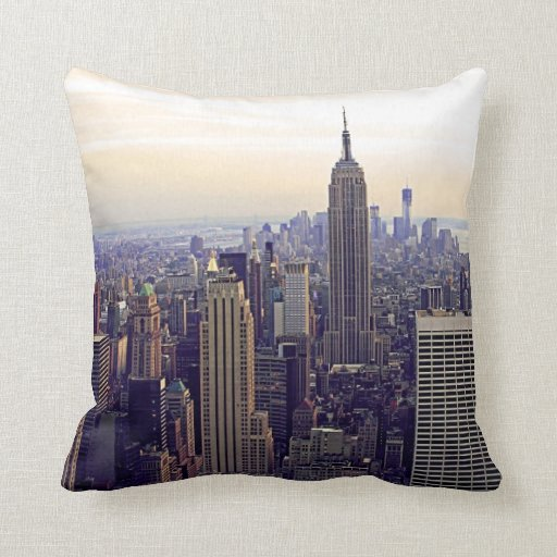 NYC skyline Empire State Building, WTC 4 Pillows
