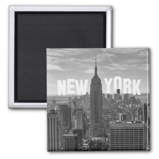 NYC Skyline Empire State Building, WTC BW 2C 2 Inch Square Magnet
