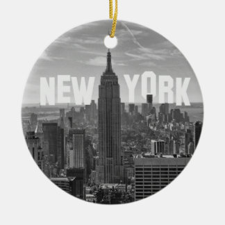 NYC Skyline Empire State Building, WTC BW 2C Ceramic Ornament