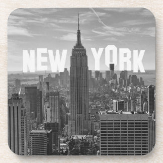 NYC Skyline Empire State Building, WTC BW 2C Drink Coaster