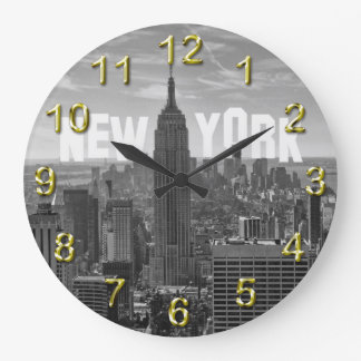 NYC Skyline Empire State Building, WTC BW  2C Large Clock