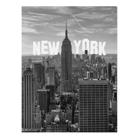 NYC Skyline Empire State Building, WTC BW 2C Postcard