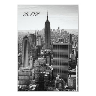 NYC Skyline Empire State Building, WTC BW RSVP Card