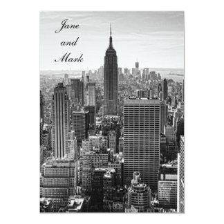 NYC Skyline Empire State Building WTC BW Wedding 5x7 Paper Invitation Card