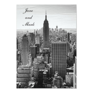 NYC Skyline Empire State Building WTC BW Wedding Card
