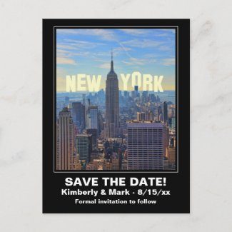 NYC Theme: NYC Skyline Empire State Building, World Trade - Save the Date Postcard
