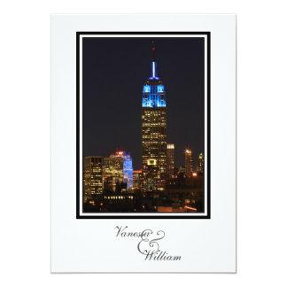 NYC Skyline ESB, 30 Rock in Blue Wedding Card