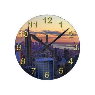 NYC Skyline: ESB, Bank of America, 4 Times Sq 001 Round Wall Clocks