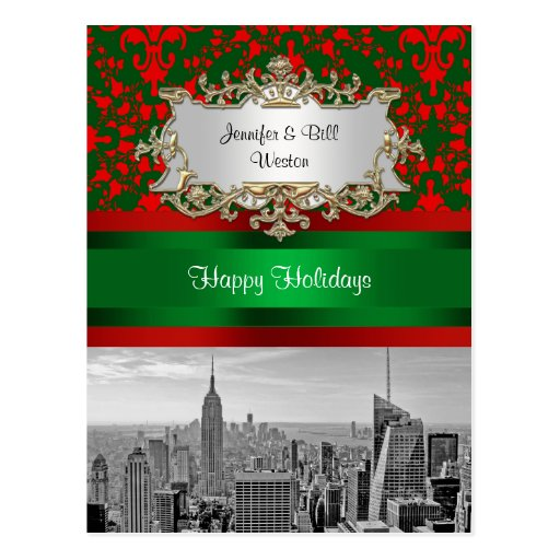 NYC Skyline ESB BW Red Grn Damask Red Christmas Postcard
