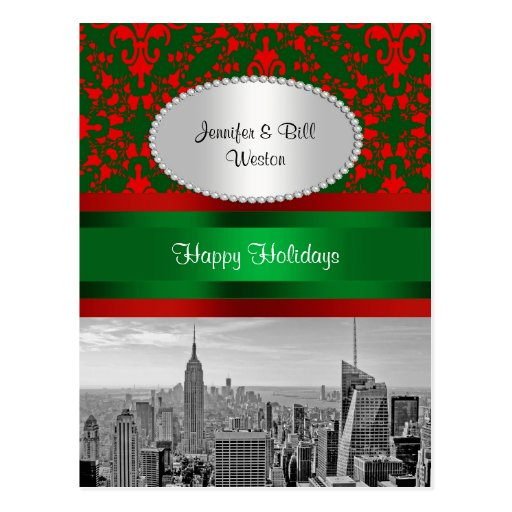NYC Skyline ESB BW Red Grn Damask Red P Christmas Postcard
