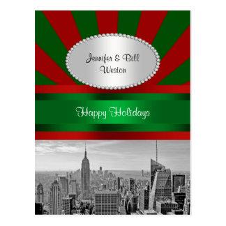 NYC Skyline ESB BW Red Grn Rays Red P Christmas Postcard