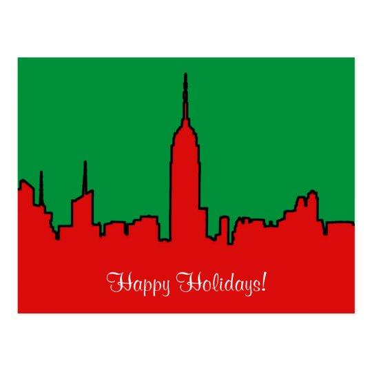 NYC Skyline: ESB Christmas Silhouette Postcard