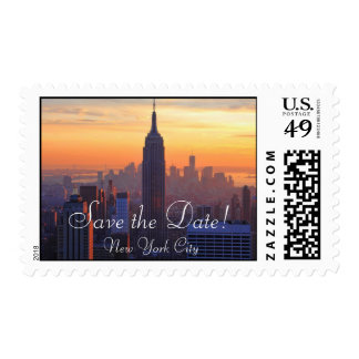 NYC Skyline ESB Orange Sunset Save the Date Stamps