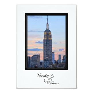 NYC Skyline ESB Pink Blue Sunset Wedding Card