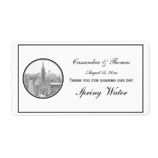 NYC Skyline ESB Round Etched 01 H Water Bottle Label