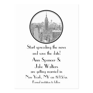 NYC Skyline ESB Round Etched 01 Save the Date Postcard