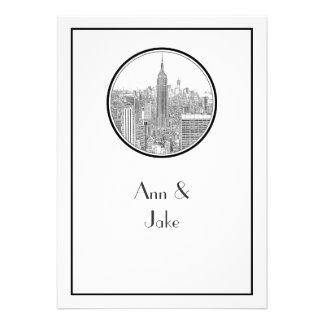 NYC Skyline ESB Round Etched 01 Wedding Invite