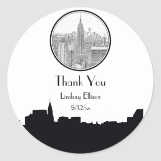 NYC Skyline ESB Round Etched 01S Favor Tag