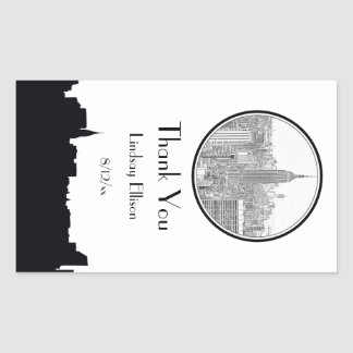 NYC Skyline ESB Round Etched 01S Favor Tag Stickers