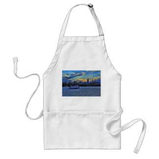 NYC Skyline ESB Smokestacks Boat Twilight Sky Aprons