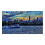 NYC Skyline: ESB, Smokestacks & Boat, Twilight Sky Business Card Template
