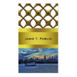 NYC Skyline: ESB, Smokestacks & Boat, Twilight Sky Business Cards