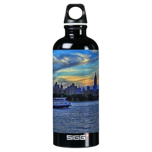 NYC Skyline: ESB, Smokestacks & Boat, Twilight Sky SIGG Traveler 0.6L Water Bottle