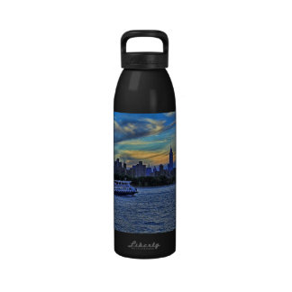 NYC Skyline: ESB, Smokestacks & Boat, Twilight Sky Drinking Bottle