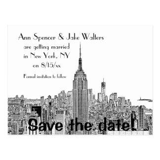 NYC Skyline ESB Top o the Rock Etch Save Date 2 Postcard