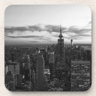 NYC Skyline, ESB WTC at Sunset BW Coaster