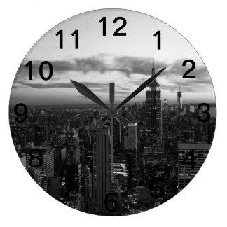 NYC Skyline, ESB WTC at Sunset BW Large Clock