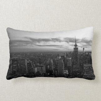 NYC Skyline, ESB WTC at Sunset BW Lumbar Pillow
