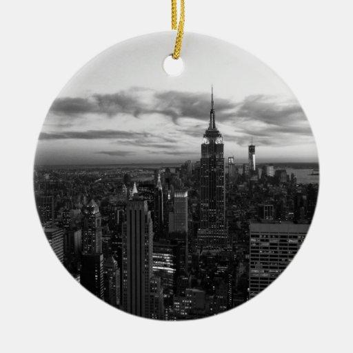 NYC Skyline, ESB WTC at Sunset BW Ornament