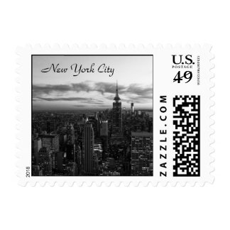 NYC Skyline, ESB WTC at Sunset BW small Postage Stamp