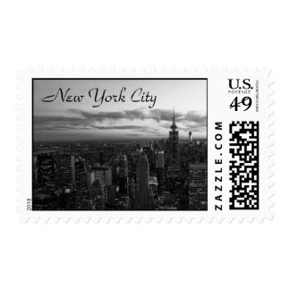NYC Skyline, ESB WTC at Sunset BW Stamp