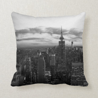 NYC Skyline, ESB WTC at Sunset BW Throw Pillow